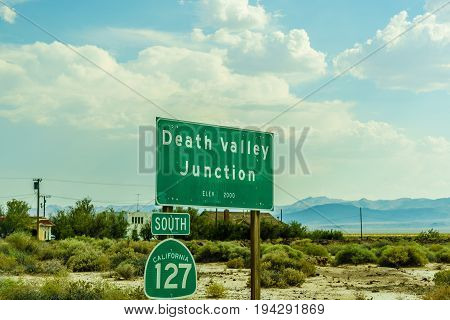 Desert highway to Death Valley Death Valley Junction National Park California poster