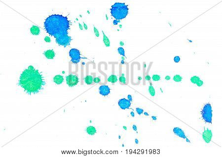 Abstract two-color blue green ink splash. Ink blots. Elements of design. The water-soluble ink on white paper Leste. Abstractionism