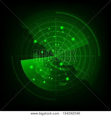 Green radar screen with map, stock vector