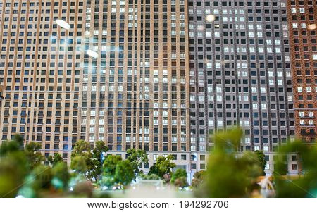 MOSCOW RUSSIA - July 06 2017 Model of a multi-storey residential building