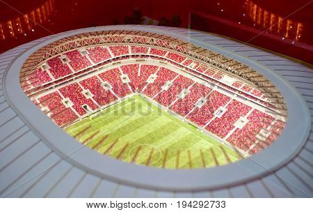 MOSCOW RUSSIA - July 06 2017 Model of the Luzhniki sports arena in Moscow.