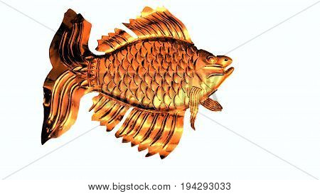 Goldfish with beautiful fins and scales isolated on white