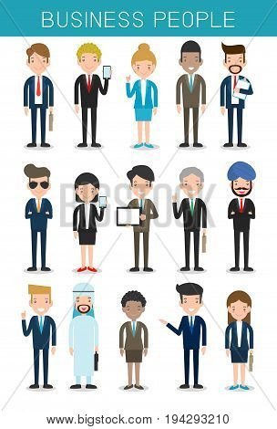 set of big business People Group Diverse Team, Business team of employees and the boss, businessman and businesswoman.Vector Illustration