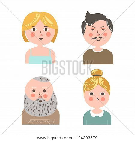 People face avatars flat set for applications or social net or web personal profile. Vector isolated icons of young girl or woman, adult man with mustaches or boy
