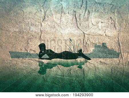 An illustrations of silhouette of lying beautiful mermaid. Short hair. Woman reflected in the ocean water. A figure in a waiting pose. Sunset at sea. Grunge distress texture.