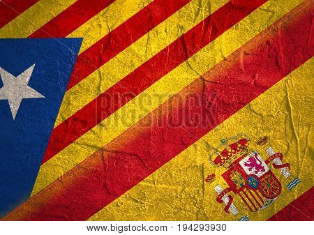 Image relative to politic situation between Spain and Catalonia. Catalonia vote for leaving from the Spain state. Democracy political process with referendum. National flags.