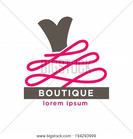 Dress boutique or woman fashion atelier salon logo template for dressmaker shop. Vector isolated silhouette icon of dress with pink ribbon