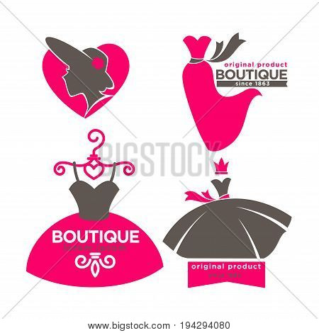 Dress lady boutique or woman fashion atelier salon logo template for dressmaker shop. Vector isolated silhouette icons of dress on hanger and modern hat or laces with lily crown and pink ribbon