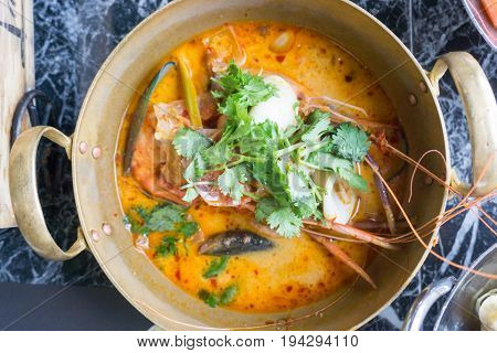 Tom Yum Goong spicy soup Thai Food.