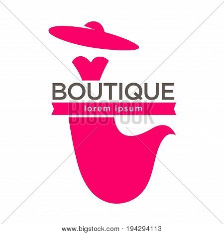 Fashion lady dress boutique or wedding dressmaker atelier salon logo template for shop. Vector isolated pink silhouette icon of elegant dress with red hat
