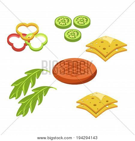 Cheeseburger constructor for fast food. Vector flat isolated icons of hamburger ingredients and fillings meat cutlet, sesame bun or lettuce vegetables and cheese
