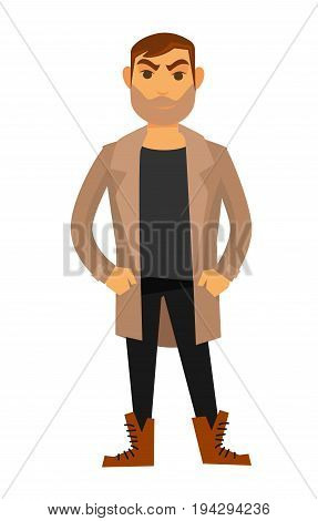 Man fashion model wearing trendy or casual style clothes of cardigan, trousers or shoes and beard haircut. Vector flat isolated icon of male catwalk pose