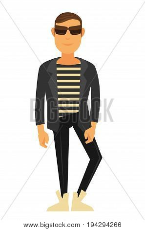 Man fashion model wearing trendy hipster or casual style clothes of shirt and jeans trousers with shoes, sunglasses and modern haircut. Vector flat isolated icon of male catwalk pose