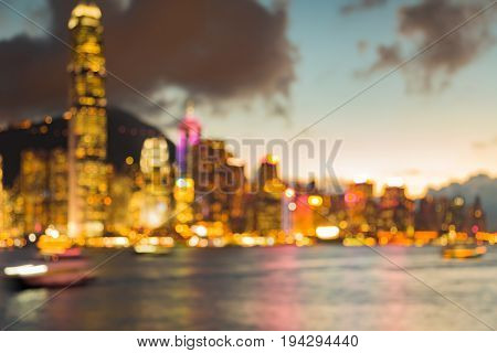 Hong Kong downtown building blurred light seafront abstract background night view