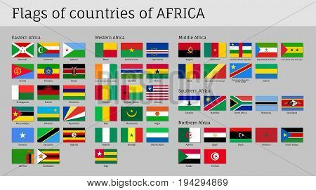 Africa flags big set. Travel agency or classroom geography poster, political map information. Flat vector illustration on gray background