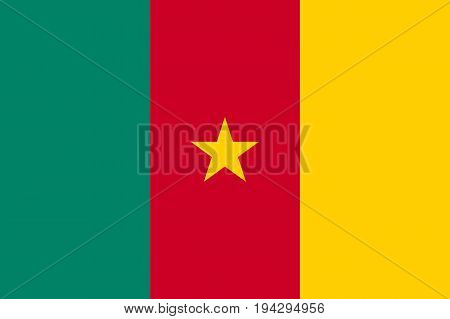 Cameroon flag and state ensign. Vertical triband of red, yellow, and green, charged with a yellow star in the center. Flat style vector illustration