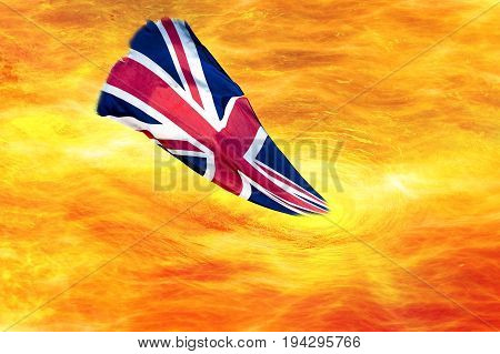 Flame spiral fire glowing fire swirl with flag of Great Britain