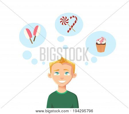 Childhood dreams. The boy dreams of ice cream, cake and sweets candy. Flat vector illustration