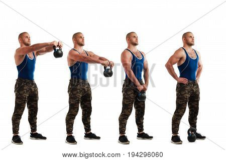 Technique exercises with weight. Young sporty man in sportswear doing exercise with weight all positions of exercise exercising on a white isolated background