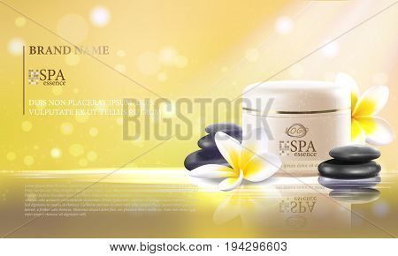 Vector illustration of a realistic style, set for spa treatments with SPA essense jar template, on the background of sun light. Excellent delicate yellow advertising poster for the spa salon.