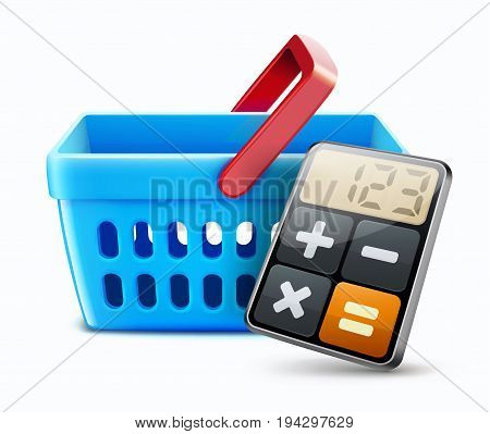 Vector illustration of shopping concept with shopping basket and calculator icon