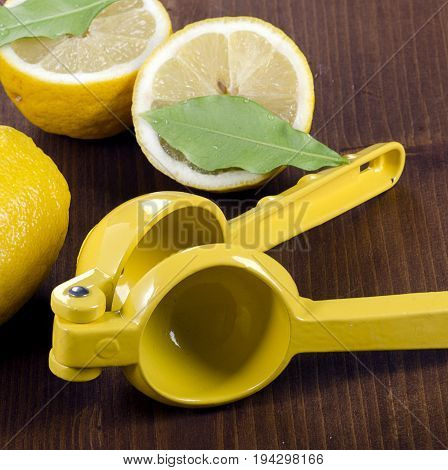 Squeezer And Lemons On A Wooden Board