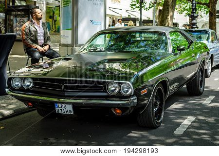 BERLIN - JUNE 17 2017: Muscle car Dodge Challenger R/T coupe 1970. Classic Days Berlin 2017.