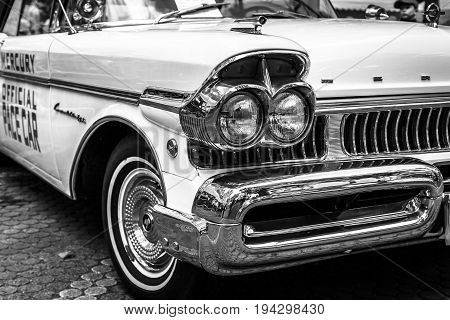 BERLIN - JUNE 17 2017: Fragment of the full-size car Ford Mercury Turnpike Cruiser 1957. Black and white. Classic Days Berlin 2017.