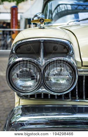 BERLIN - JUNE 17 2017: Headlamp of the full-size car Ford Mercury Turnpike Cruiser 1957. Classic Days Berlin 2017.