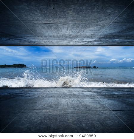 Ocean room with splashing wave and rock island