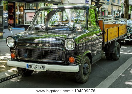 BERLIN - JUNE 17 2017: Light commercial vehicle Ford Transit 150 1976. Classic Days Berlin 2017.