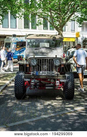 BERLIN - JUNE 17 2017: Military light utility vehicles Willys MB. Classic Days Berlin 2017.