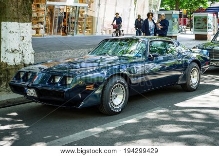 BERLIN - JUNE 17 2017: Muscle car Pontiac Firebird Turbo Trans Am (second generation). Classic Days Berlin 2017.