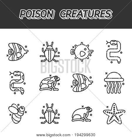 Poisonous creatures cartoon concept icons. Vector illustration, EPS 10
