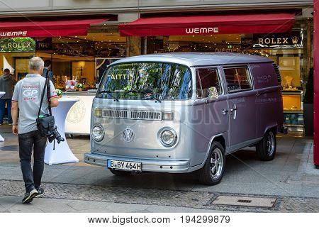 BERLIN - JUNE 17 2017: Light commercial vehicle Volkswagen Transporter Type 2 (T2). Classic Days Berlin 2017.