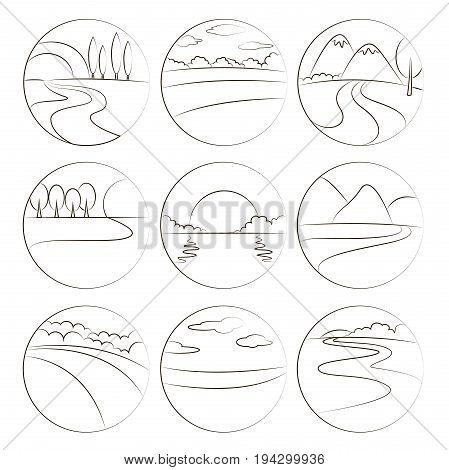 River and Landscape icons. Symbols of ecology nature and travel sea and sun, mountain, tree, park or green forest, summer sunset and river.