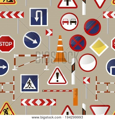 Road barriers and signs pattern. Vector illustration, EPS 10