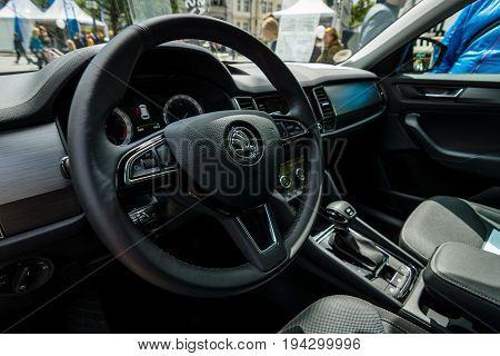 BERLIN - JUNE 17 2017: Interior of a full-size SUV Skoda Kodiaq 2016. Classic Days Berlin 2017.