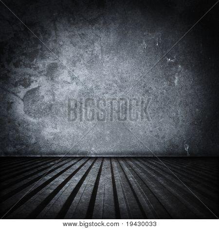 Grungy stål rum interiör. Metallbehållare interiör