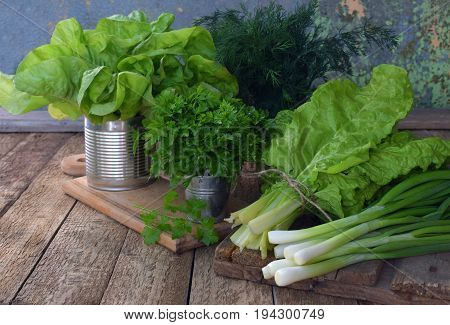 Composition Of Green Herbs And Vegetables. Organic Spring Mix For Salad On Brown Wooden Background.