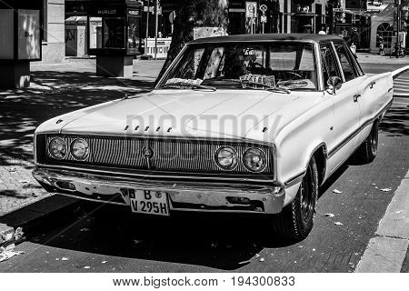 BERLIN - JUNE 17 2017: Mid-size car Dodge Coronet 1967. Black and white. Classic Days Berlin 2017.