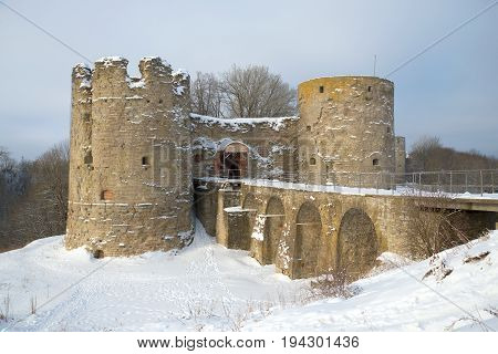 Medieval fortress Koporye in the February day. Leningrad region. Russia