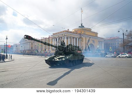 SAINT-PETERSBURG, RUSSIA - MAY 09, 2017: Self-propelled artillery mount Msta-S on the background of the Admiralty building. Victory Day in St. Petersburg