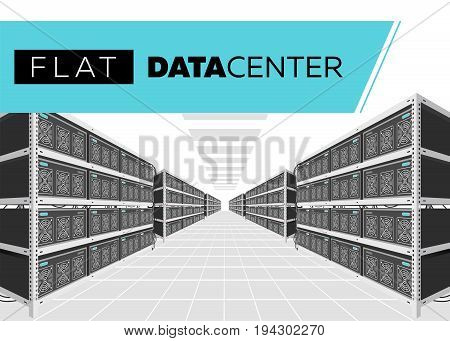 Flat Vector Isolated Illustration of Data Center in Perspective. Grey Computer Racks. Bitcoin Mining Farm Exchange Service. Web Hosting Provider. Data Storage. Network Internet Database.
