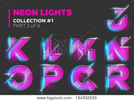 Vector Neon Character Typeset. Glowing Letters on Dark Background. Glitch Effect. Pink Blue Purple Overlay Layers with Stroke. Futuristic Font for DJ Music Poster Night Club Banner Sale Banner Summer Fest.