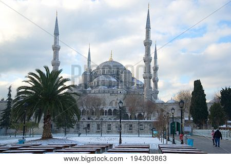 ISTANBUL, TURKEY - JANUARY 09, 2015: The Blue Mosque on a cloudy January day. Winter Istanbul