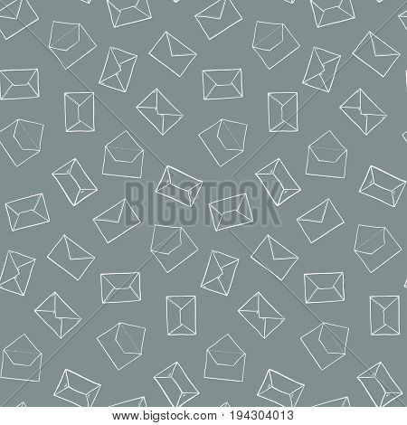 Cute Hand Drawn Outline Envelopes Pattern. Seamless Post Office Mail Texture