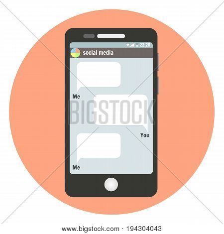 Black smartphone symbol with social media bubbles for your text messages. Phone mock-up for network conversation text