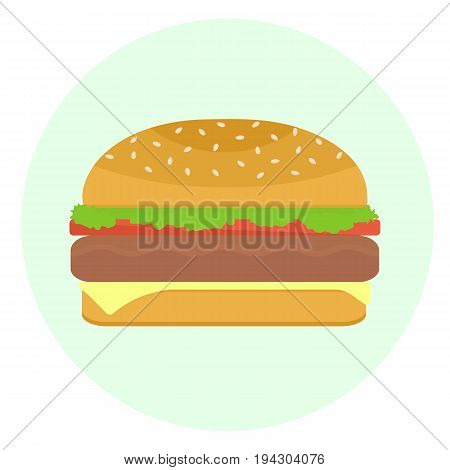 Flat Vector Delicious Hamburger With Patty-cake And Vegetables Icon