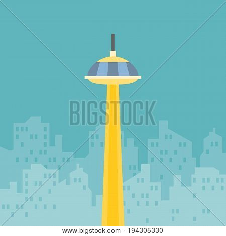 Sky scrapper construction with silhouette building background, flat design vector